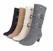 Women's Vogue Mid Calf Boots Low Heels Faux Suede Pull On 2 Buckle Strappy Shoes