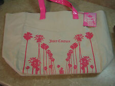 New JUICY COUTURE Natural Tan CANVAS BEACH TOTE BAG Shopper PINK PALM TREES