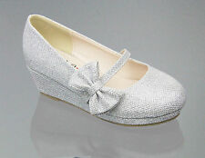 Kids Glitter Strap Girls Bow Close Toe Silver Wedge Shoes