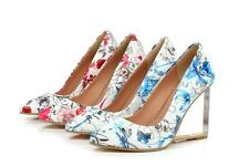 Sexy Womens Genuine Leather High Wedge Clear Heel Pumps Floral Printed Shoes Sz