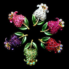 Glamorous Brooch Flower Tulip Rhinestones gold coloured