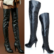 New Women's Leather Over Knee Thigh High Pleated High Heels Zipper Dancing Shoes
