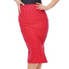 Steady Polka Dot Pencil Wiggle Skirt Red Rockabilly Retro Pin Up Vintage Office