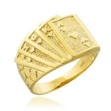 Solid Gold Royal Flush of Hearts Deck Of Cards Poker Nugget Ring