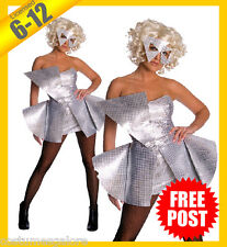 Ladies Costume Fancy Dress Up RD Licensed Lady Gaga Silver Sequin Dress Sz 6-12
