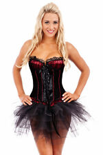 Burlesque Corset Bustier Boned Dress Up Costume Showgirl Moulin Rouge Black