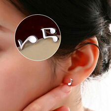Silver Plated Cute Lovely Musical Note Ear Stud Earrings Gift Funny WF