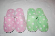 Womens Slippers 2 PR LOT Ribbed Terry HOUSE SHOES Polka Dot PINK GREEN  S M L