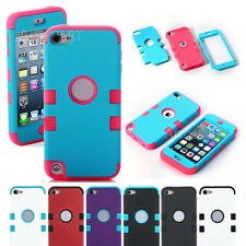 FOR iPod Touch 5th 6th Gen-HARD & SOFT RUBBER PROTECTOR ARMOR CASE HYBRID COVER