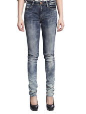 Womens Acid Wash Fashion Skinny Jeans Low Rise Legging Pencil Denim Pants 4-16