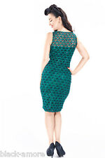 NEW GREEN SEQUIN LACE PENCIL WIGGLE DRESS VINTAGE 50' ROCKABILLY WWII STYLE