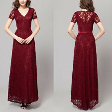 Elegant V-neck Lace Long Formal gown Evening Prom Party ball Women dresses 8 10