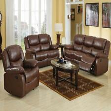 New 3pc Motion Sofa Set Living Room Brown Modern Couch Sofa Loveseat & Recliner