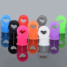 PAIR-Silicone Squishy Heart Ear Skins Double Flare Ear Tunnel Plugs Multi Color