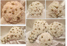 WEDDING FLOWERS WEDDING BOUQUET BRIDES BOUQET BROOCHES GOLD IVORY CRYSTALS PEARL
