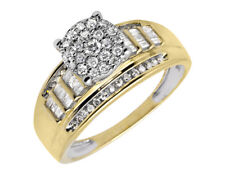 10K Yellow Gold Flower Round-Cut and Baguette Diamond Engagement Ring 3/4ct.