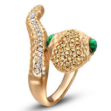 18k Rose Gold GP Swarovski Crystal Green-eyed lovely rose gold snake ring Jsr045