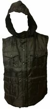 Mens Yago Multi Pocket Black Hooded Vest Stylish Fashion Jacket Detachable Hood
