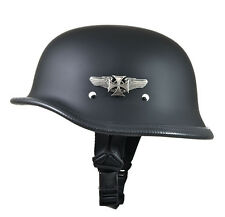 Daytona Flat Black German Iron Cross Novelty Motorcycle Half Helmet