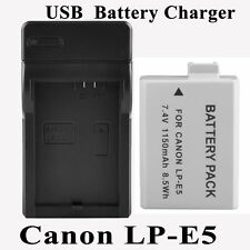 Battery/Charger for Canon LP-E5 EOS 500D 450D 1000D Kiss X2 X3 Rebel T1i Xs Xsi