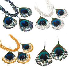 "2 1/2"" COLORFUL PEACOCK FEATHER GLASS BEADS necklace & earrings SET"