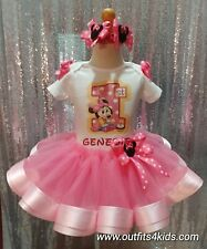Personalized Baby Minnie Mouse First Birthday Ribbon Trim Tutu Outfit 12,18,24 M