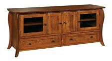 """Amish Traditional TV Stand Console Cabinet Quincy Solid Wood 60"""" Doors Drawers"""