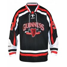 WOW M L XL GUINNESS JERSEY HOCKEY GUINESS MENS SHIRT NHL IRELAND IRISH RED BLACK