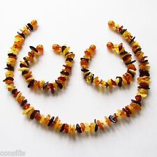 Genuine Baltic amber teething necklace or anklet/bracelet, multicolour nuggets