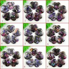 Hot 5pcs 40x40mm Heart Purple Grass Turquoise & Pyrite Pendant Bead AY5475