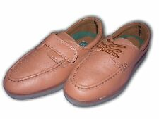 Ladies Shoes Bowls Bowling Mocc Moccasin Lace Velcr Brown Leather In/Outdoor