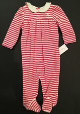 NWT Ralph Lauren Baby Girl Polo Pink Velour Footed One Piece Coverall 6 9 Mo