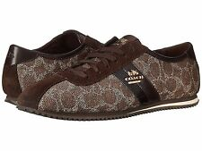 NEW COACH Women's Ivy Logo Signature C Sneakers Brown/Khaki Suede Shoes A00249
