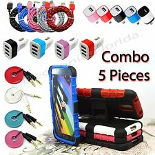 Combo 5 Pieces USB Cable, Audio Cable, Cover ,Car & Wall Charger for Samsung S5
