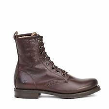 Frye Womens Veronica Combat Lace up Boots Dark Brown Leather