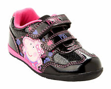 GIRLS OFFICIAL PEPPA PIG BLACK GLITTER CASUAL TRAINERS SHOES INFANTS SIZE 5-10