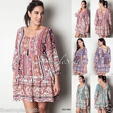 New UMGEE Paneled Criss-Cross Cage Back BabyDoll Tunic Top Boho Festival Dress