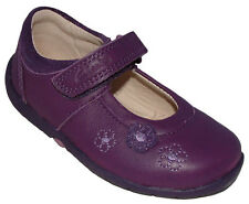 NEW Clarks Girls Softly Sue Purple Leather First Shoes 4 - 5.5 E & G Widths