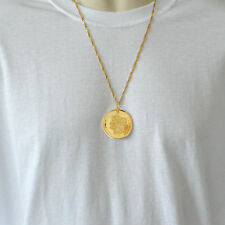 Morgan 1896 Coin Necklace Pendant Mens 24k Gold Plated Necklaces