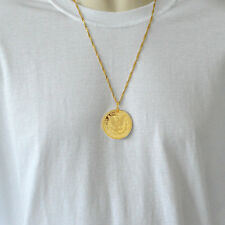 Morgan Eagle 1896 Coin Necklace Pendant Mens 24k Gold Plated Necklaces