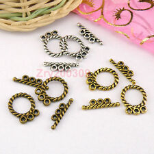 15Sets Tibetan Silver,Antiqued Gold,Bronze 3-Holes Connector Toggle Clasps M1411