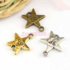 20Pcs Tibetan Silver,Gold,Bronze Star Charms Pendants Connectors M1428