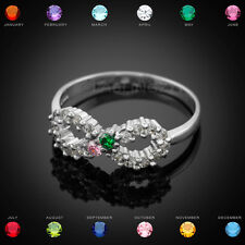 Sterling Silver Infinity Dual Birthstone CZ Ring Size 10