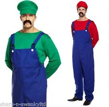 Mens Adult Mario or Luigi 1980s 80s Stag Do Halloween Fancy Dress Costume Outfit
