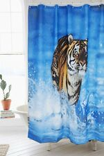 "71"" Polyester Waterproof 3D Tiger Wave Blue Bath Shower Curtain Hooks Home Decor"