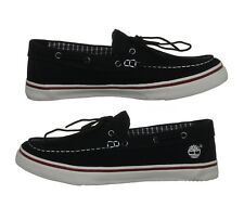 Timberland Mens Boat Shoes Newmarket Slipon Washed Black Canvas 6727R NEW