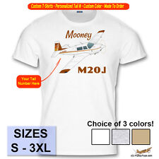 Mooney M20J (201) Custom Airplane T-Shirt - Personalized with Your N# - Brown
