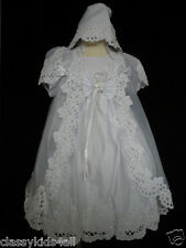Infant Baby Toddler Girl Christening Baptism Dress Gown Size 0 1 12-24M White