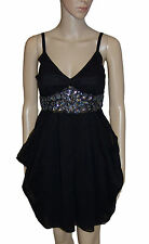 NEW! Black Floaty Chiffon Sparkly Empire Line Party Knee Length Dress Size 8 10