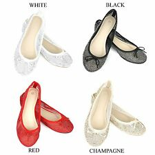 NEW Womens Cute Mesh Lace Sparkle Ballet Comfy Slip On Ballerina Flats Shoes